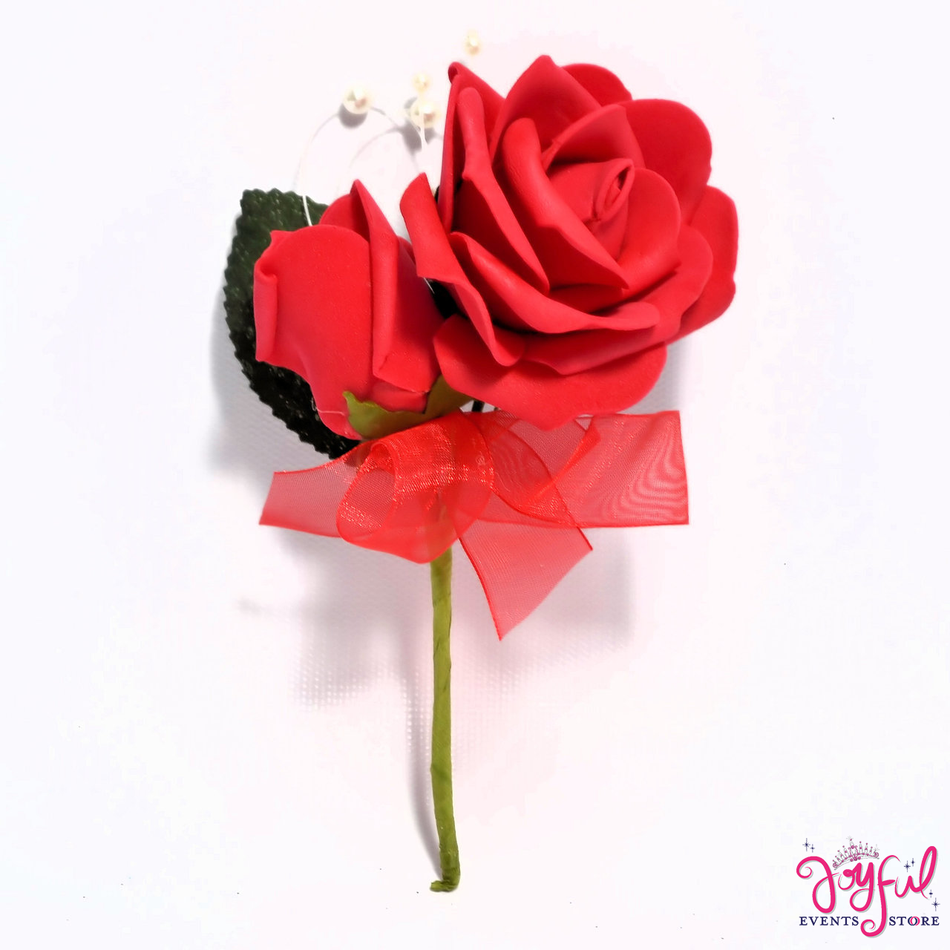 """5"""" Foami Red Rose Corsage - One (12 min) #COR18RD"""