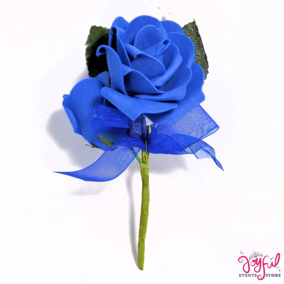 "5"" Foami Royal Blue Rose Corsage - One (12 min) #COR18RB"