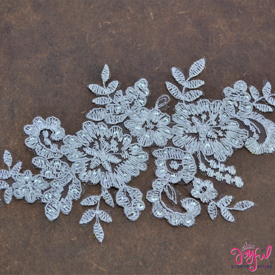 "8"" x 4"" White Lace Applique with Sequins and Flower Embroidery - One #APLQ1"