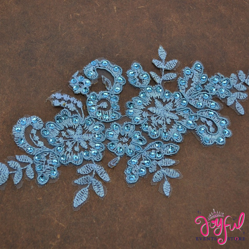 "8"" x 4"" Light Blue Lace Applique with Sequins and Flower Embroidery - One #APLQ2"