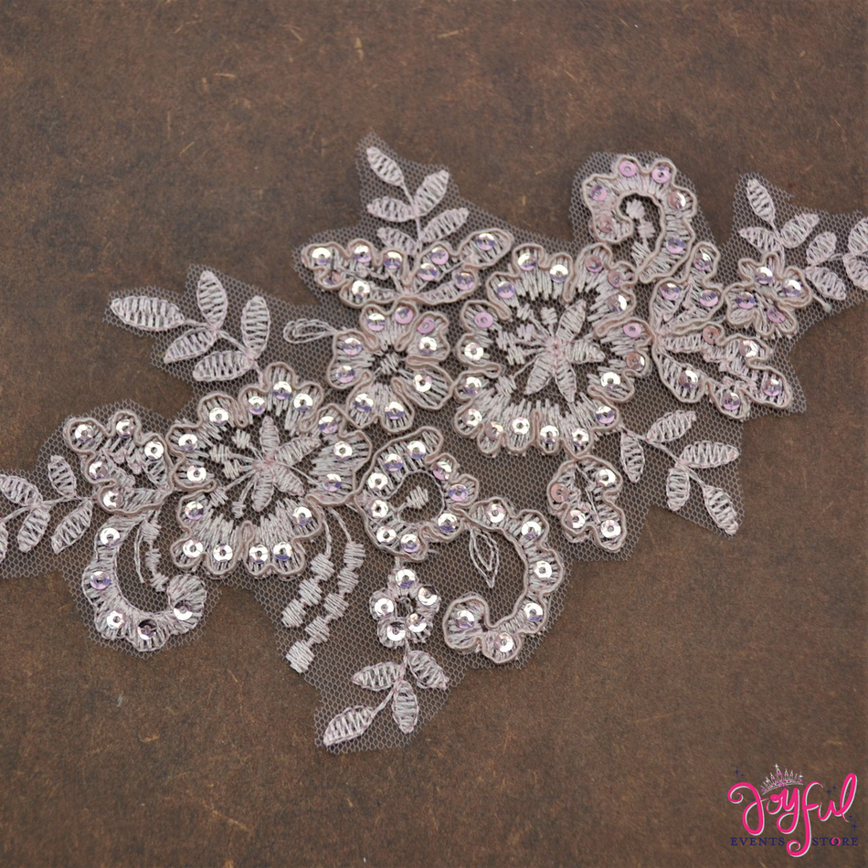 """8"""" x 4"""" Blush Lace Applique with Sequins and Flower Embroidery - One #APLQ4"""