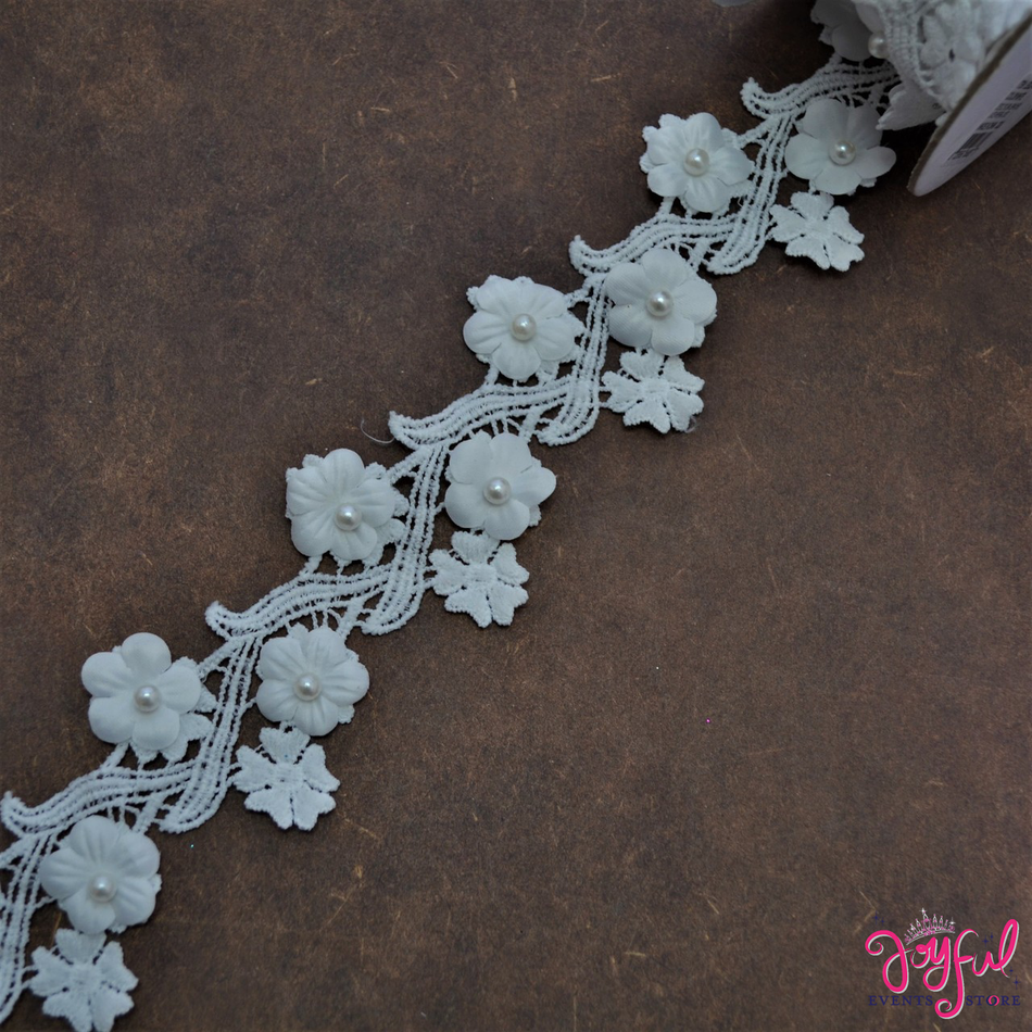 "2"" White Floral Branches Lace W/Pearls - One Yard #LE002"