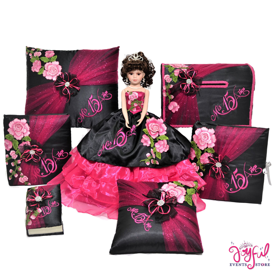 Quinceanera Accessories with Floral  Doll, Pillows, Guest Book, and Album #QSP171