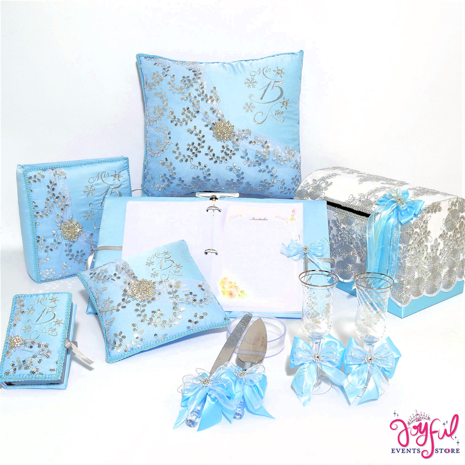 Quinceanera Snow Flakes Package Toasting Glasses, Pillows, Guest Book, Album, and Cake Server #QSP173