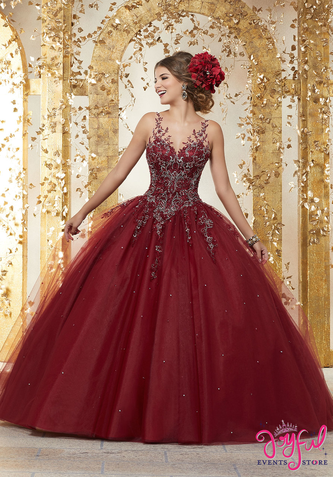 Rhinestone and Crystal Beaded Embroidery on a Tulle Ballgown #89223