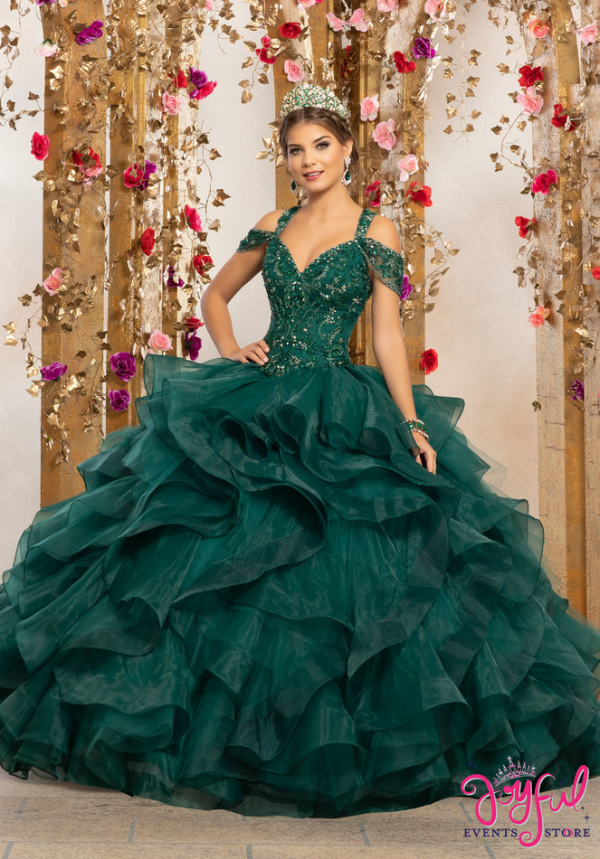 Crystal Beaded Embroidery on a Flounced Organza and Tulle Ballgown #89226