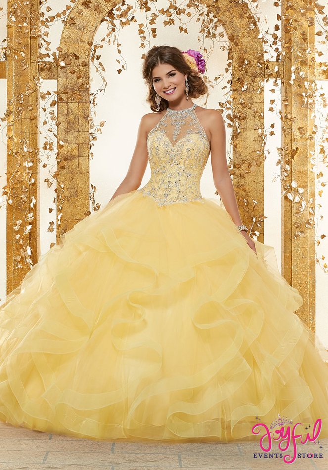 Rhinestone and Crystal Beading on a Flounced Tulle Ballgown #89230