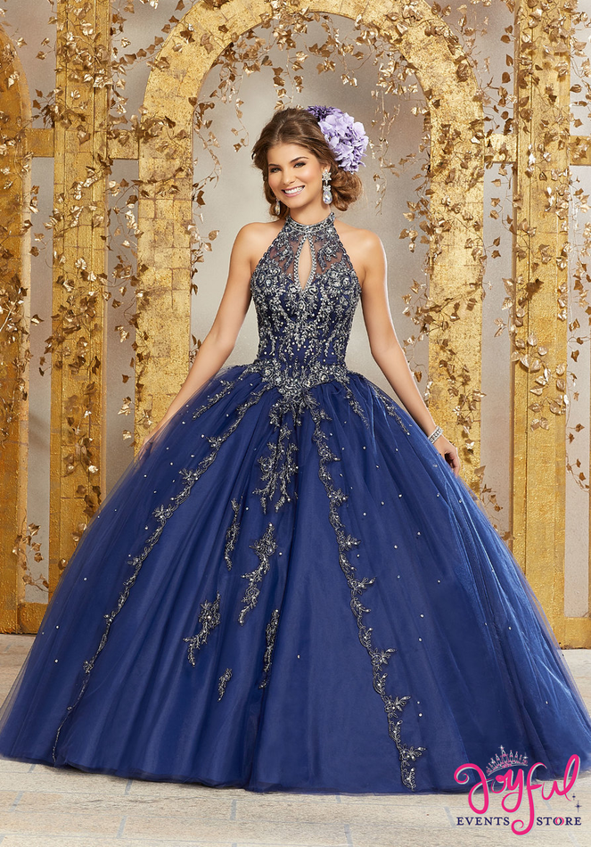Rhinestone and Crystal Beaded Embroidery on a Princess Tulle Ballgown #89236