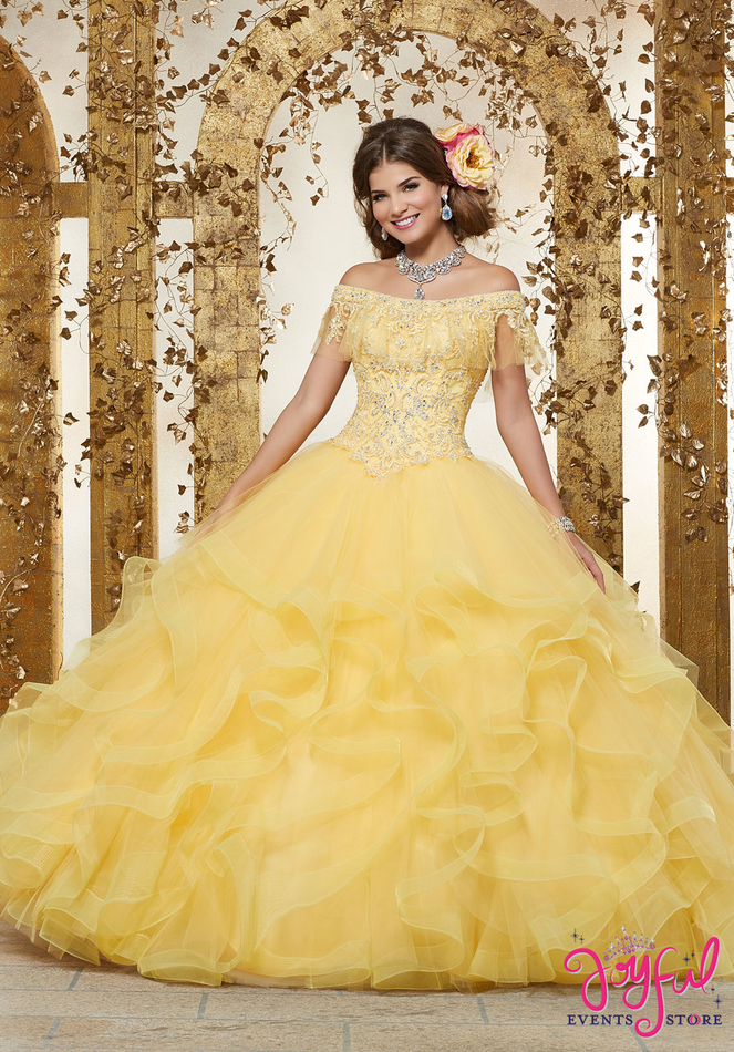Rhinestone and Crystal Beaded Embroidery on a Flounced Tulle Ballgown #89237
