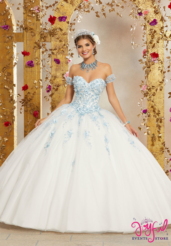 Crystal Beaded, Three-Dimensional Floral Appliqués and Embroidery on a Tulle Ballgown #60071