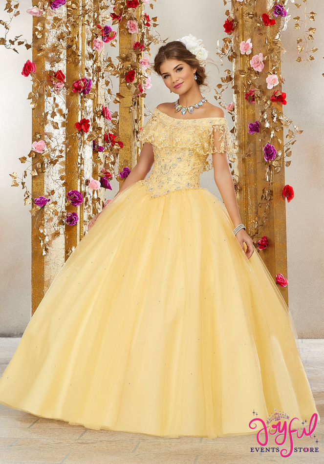 Rhinestone and Crystal Beaded Embroidery on a Tulle Ballgown #60075