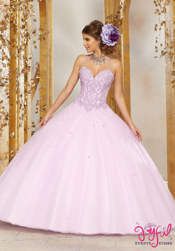 Crystal Beaded Lace Appliqués on a Tulle Ballgown #60078