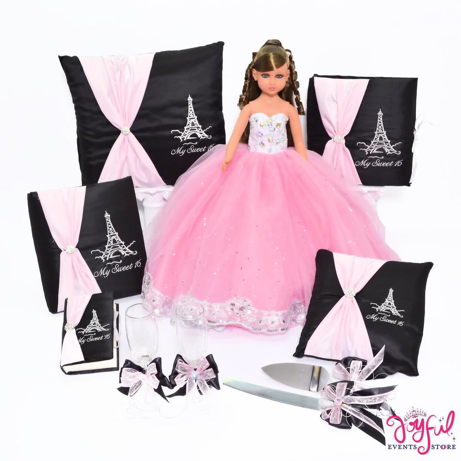 Sweet Sixteen Eiffel Tower Theme Pillows, Guest Book, Album, Bible and Doll #QSET93LGPK