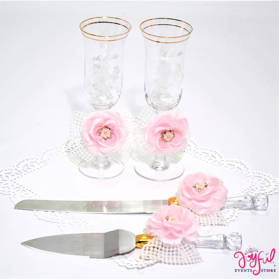 Quinceanera Toasting Glasses with Cake Server  & Knife Set #TGCS29