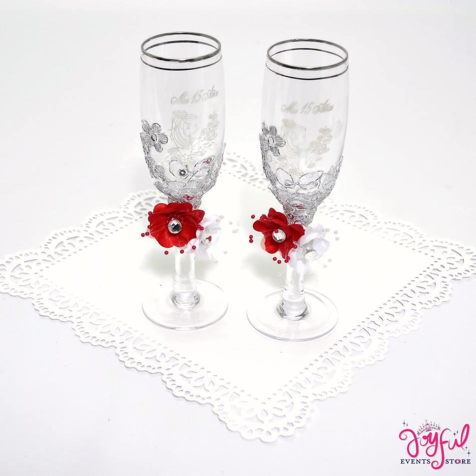 Quinceanera Decorated Toasting Glasses #TG30