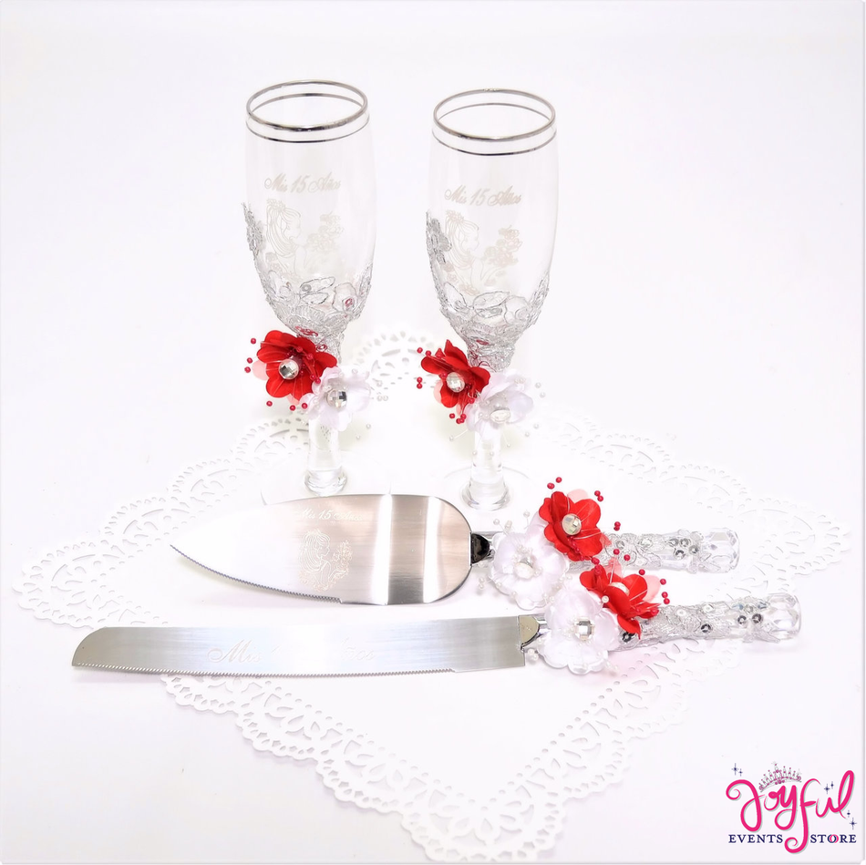 Quinceanera Toasting Glasses with Cake Server  & Knife Set #TGCS30