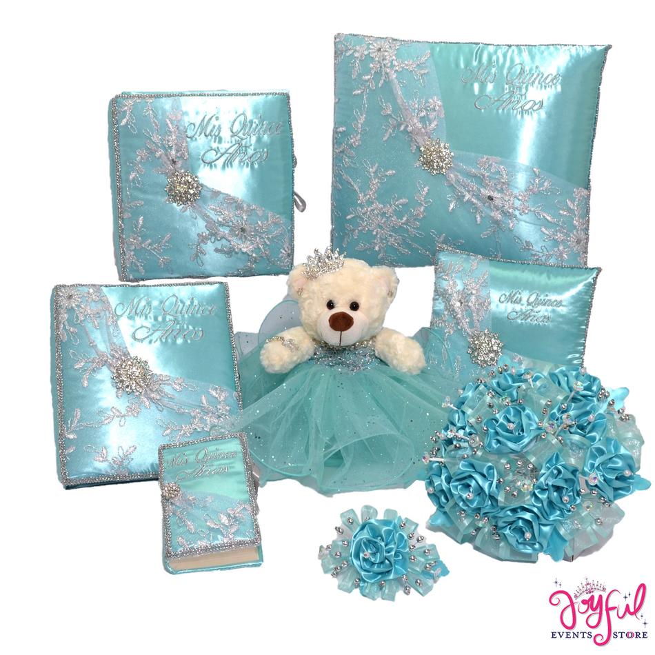 Quinceanera Toasting Glasses, Pillows, Guest Book, Album, Bouquet & Bear #QSET95LGPK