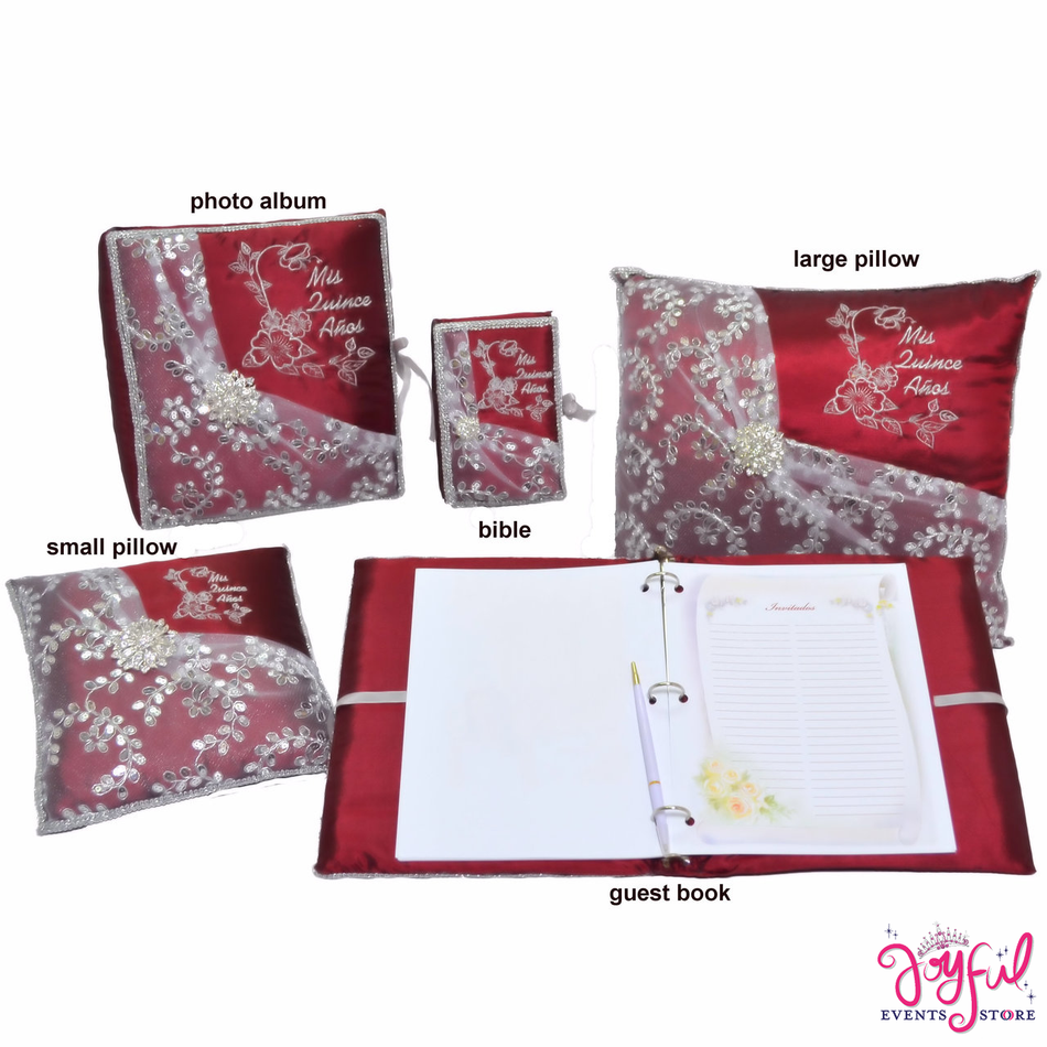 Quinceanera Pillows, Photo Album, Guest Book and Bible #QSET96