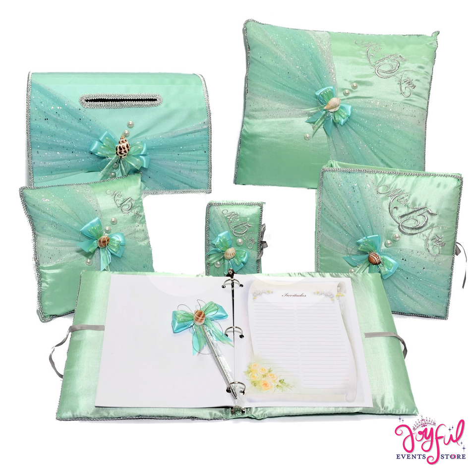 Under the Sea Quinceanera Pillows, Photo Album, Guest Book, and Bible #QSET97