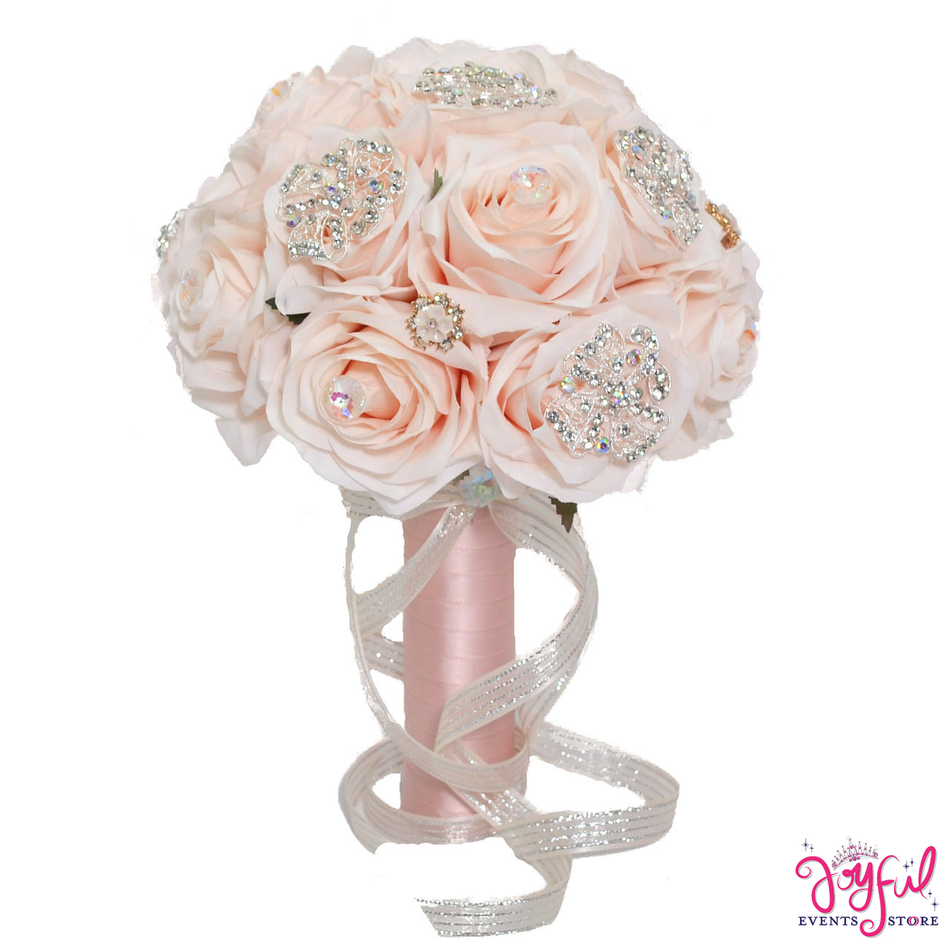 """11"""" Silk Round Rose Flower Bouquet Embellished with Crystals and Brooches for Brides or Quinceaneras - One #RAC81"""
