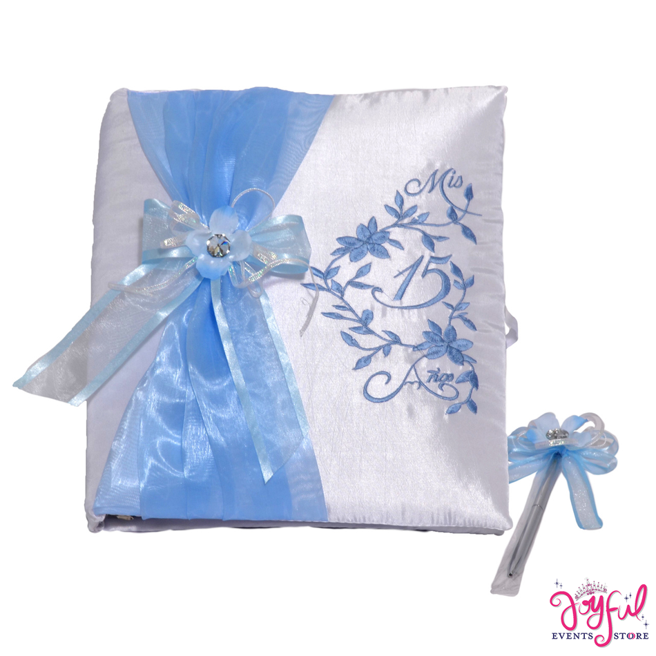 "12"" Blue Bun Guest Book with Feather Pen - #GB15"