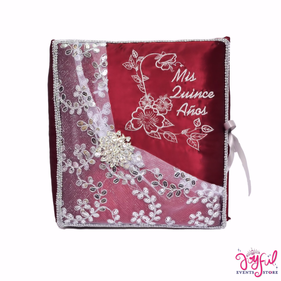 "12"" Red Guest Book with Feather Pen - #GB96"