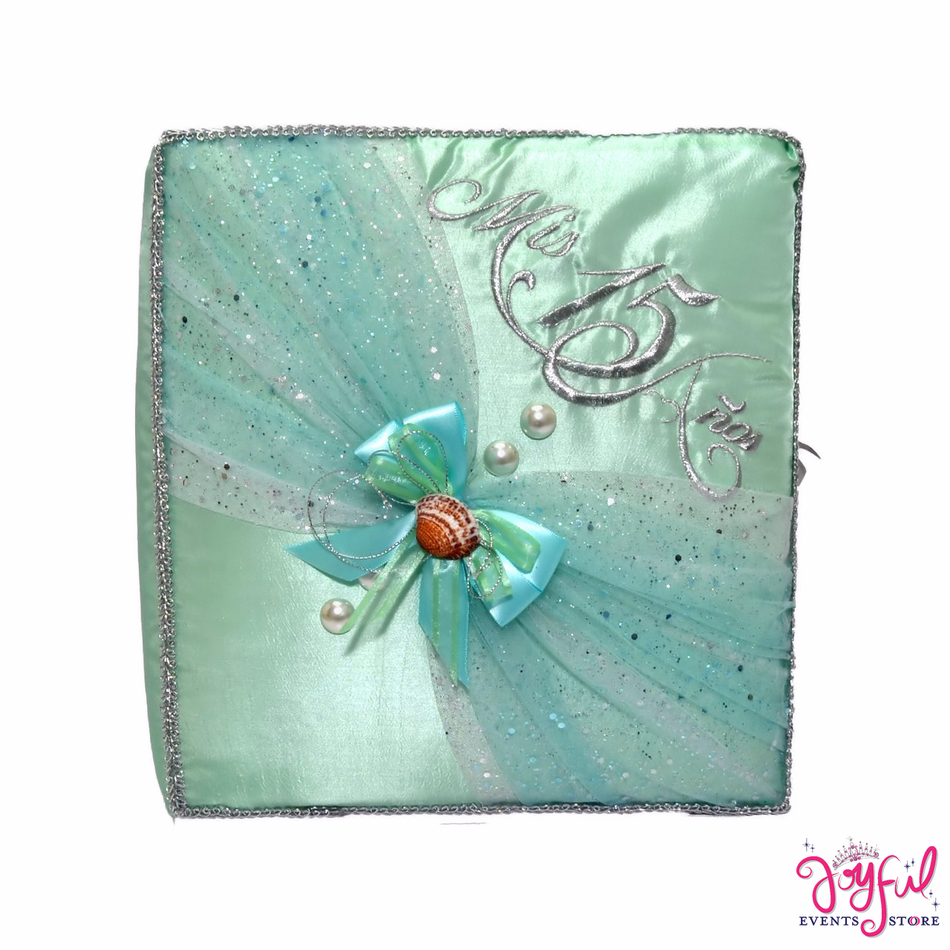 "12"" Aqua Guest Book with Feather Pen - #GB97"