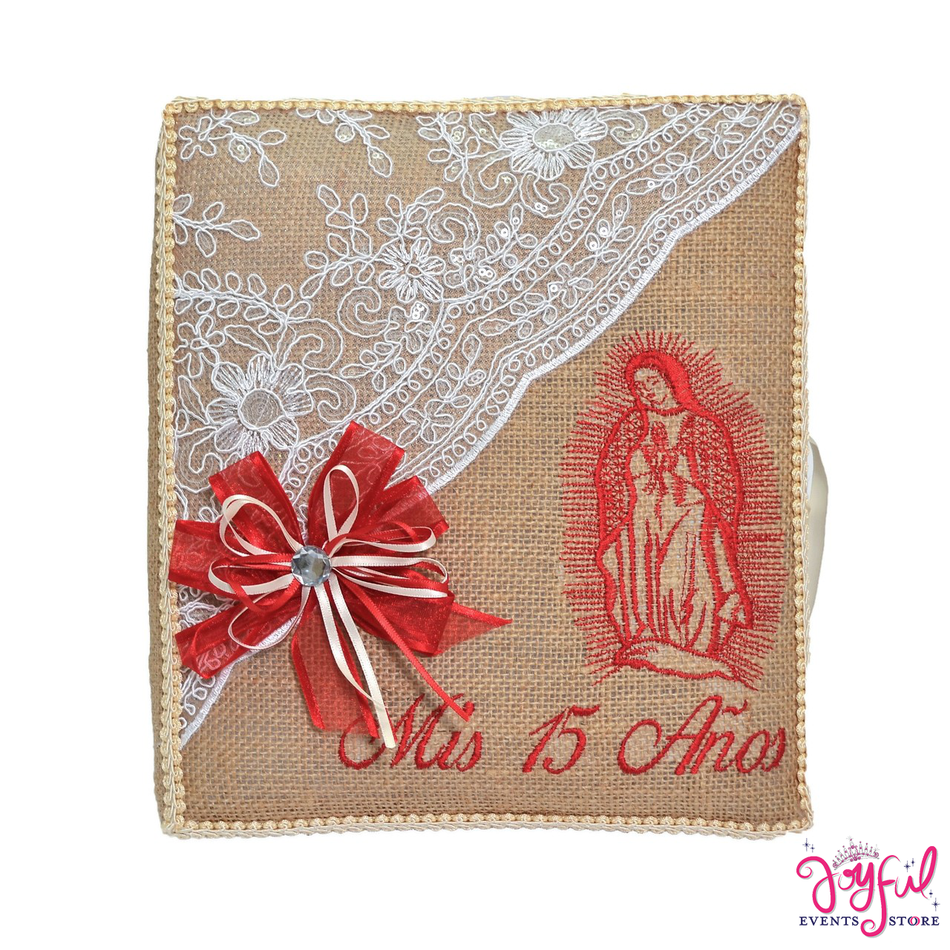 "12"" Virgen de Guadalupe Guest Book with Feather Pen - #GB99"