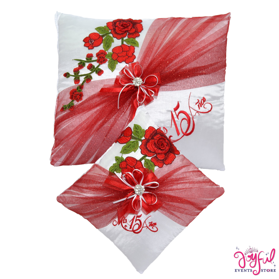 Red Roses Quinceanera Pillows  - Two Pillows #PLW101