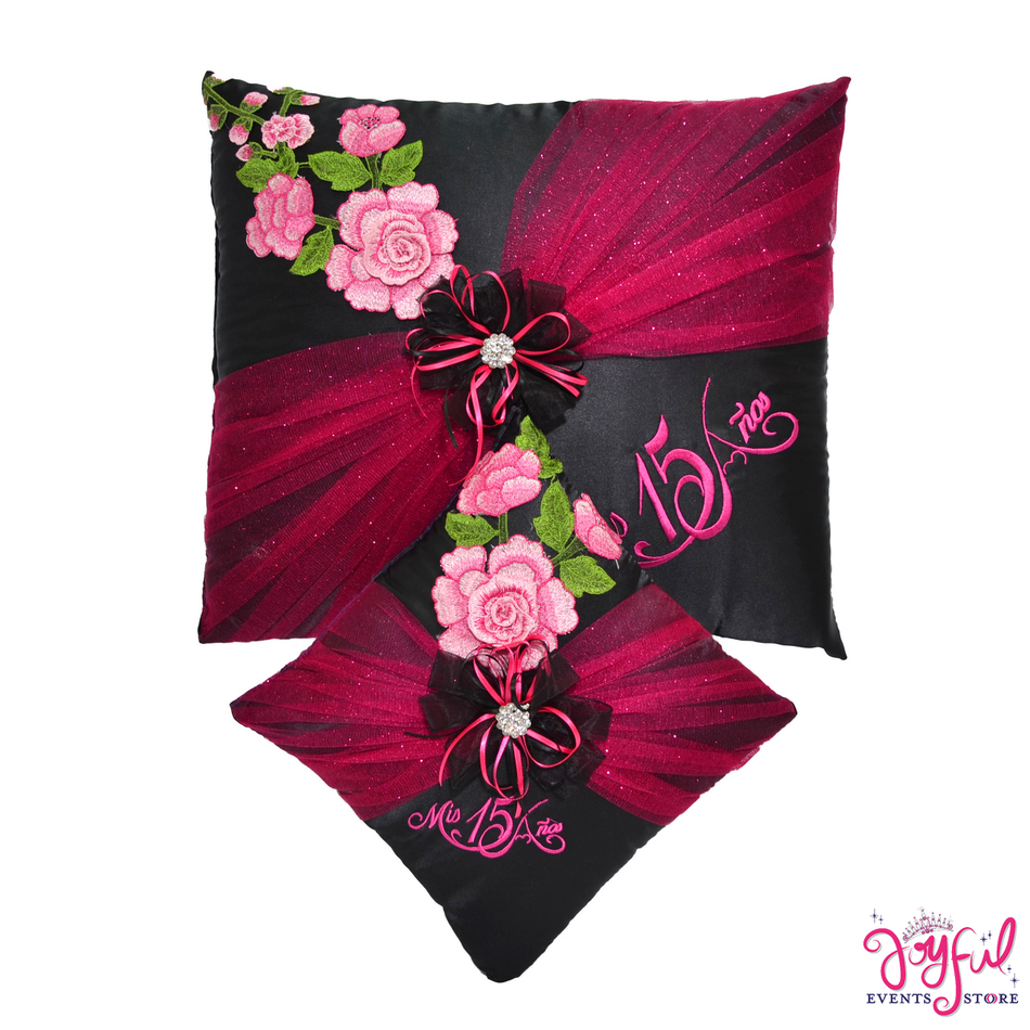 Pink Roses Quinceanera Pillows  - Two Pillows #PLW171