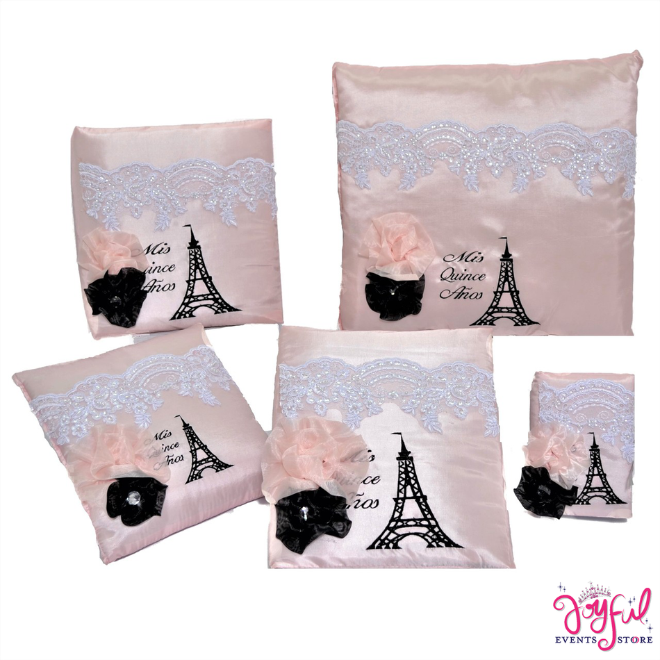 Eiffel Tower Theme with Pillows, Photo Album, Guest Book and Bible #QSET103
