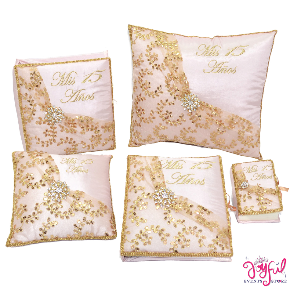 Quinceanera Set with Pillows, Photo Album, Guest Book and Bible #QSET104