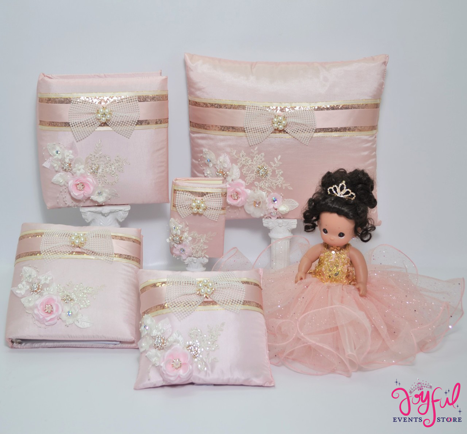 Quinceanera Set with Pillows, Photo Album, Guest Book and Bible #QSET94