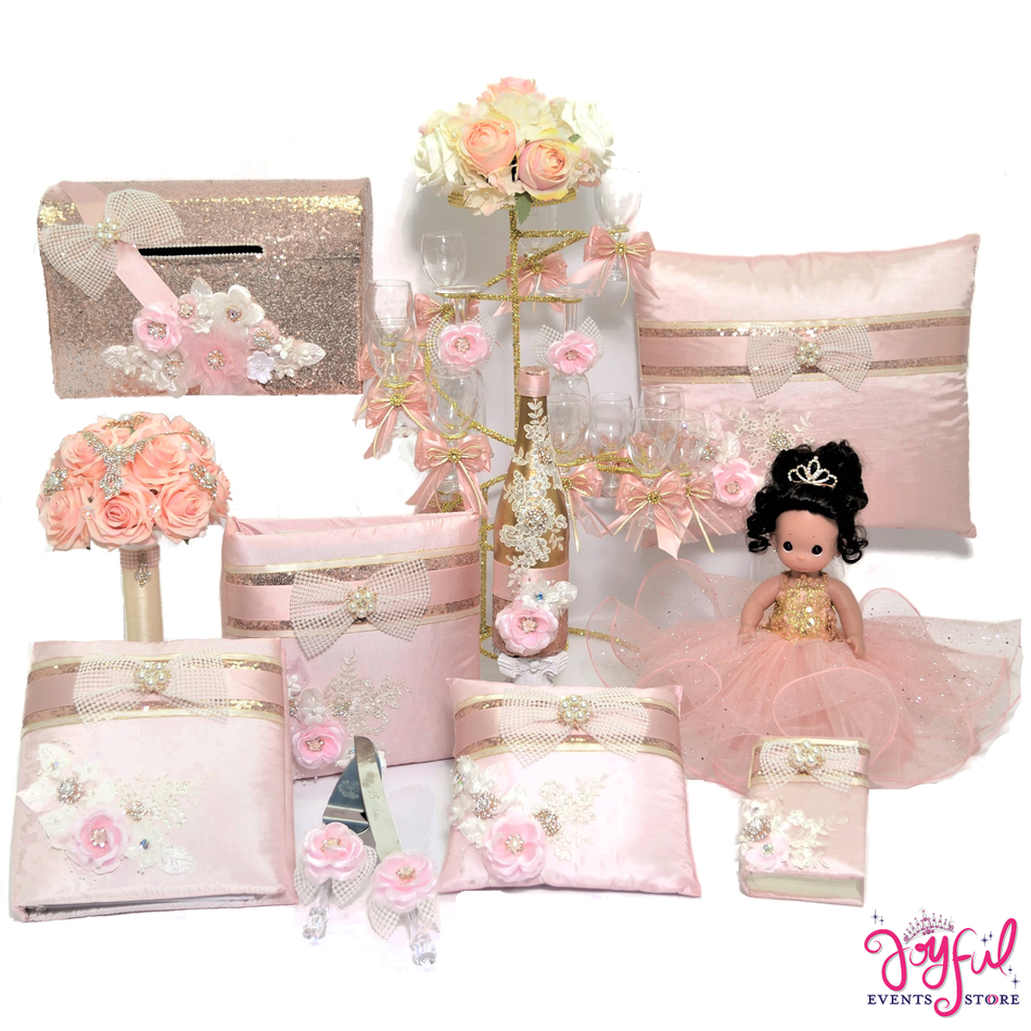 Quinceanera Package Toasting Set, Doll, Pillows, Guest Book, Album, Bible, Money Box, Flower Bouquet, and Cake Server #QSP94PM