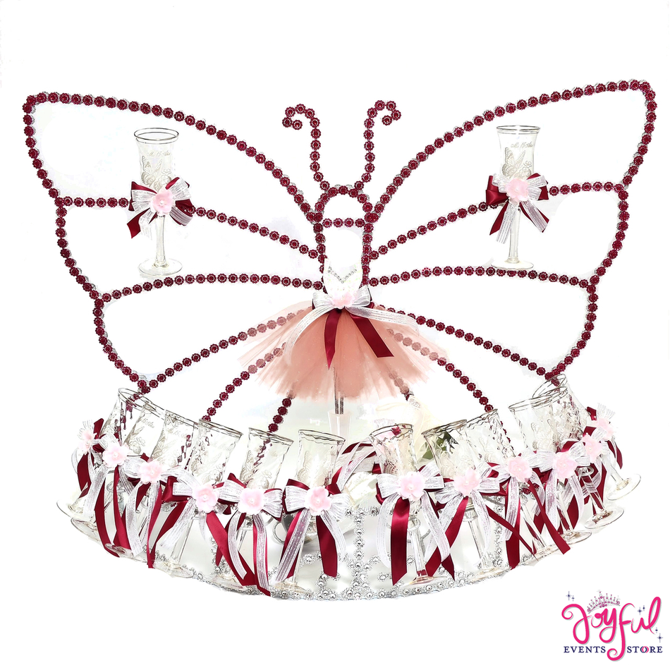"28"" Butterfly Toasting Set with Glasses #TS75PLN"