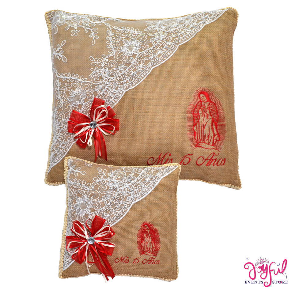 Virgen de Guadalupe Burlap Quinceanera Kneeling, Slipper and Tiara Pillows - Two Pillows #PLW57VG