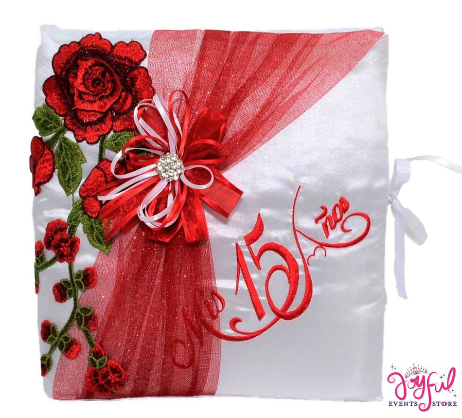 """12"""" Quinceanera Roses Design Guest Book #GB1011"""