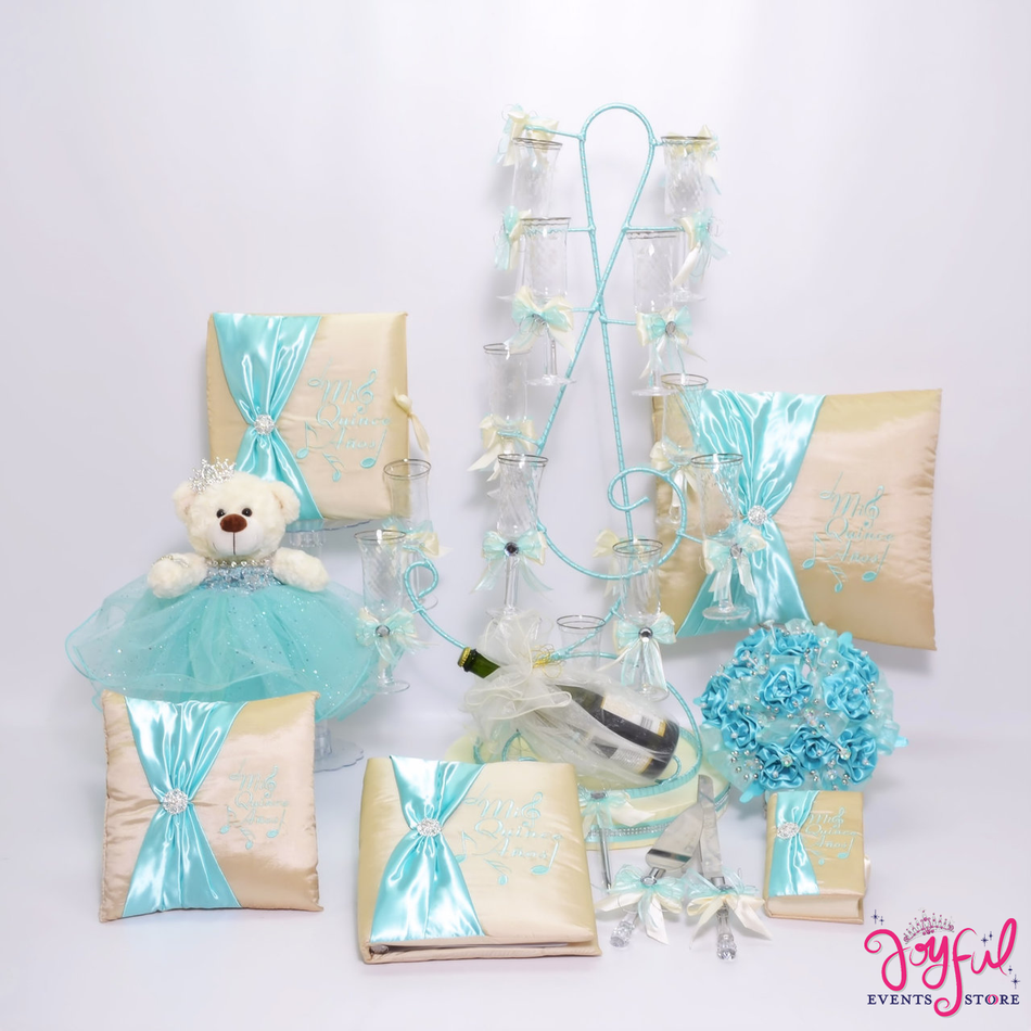 Quinceanera Musical Theme Package Toasting Set, Bear, Pillows, Guest Book, Album, Bible, Flower Bouquet, and Cake Server #QSP95
