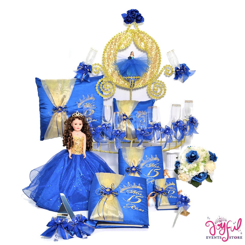 Quinceanera Package Toasting Set, Doll, Pillows, Guest Book, Album, Flower Bouquet, and Cake Server #QSET103LGPK