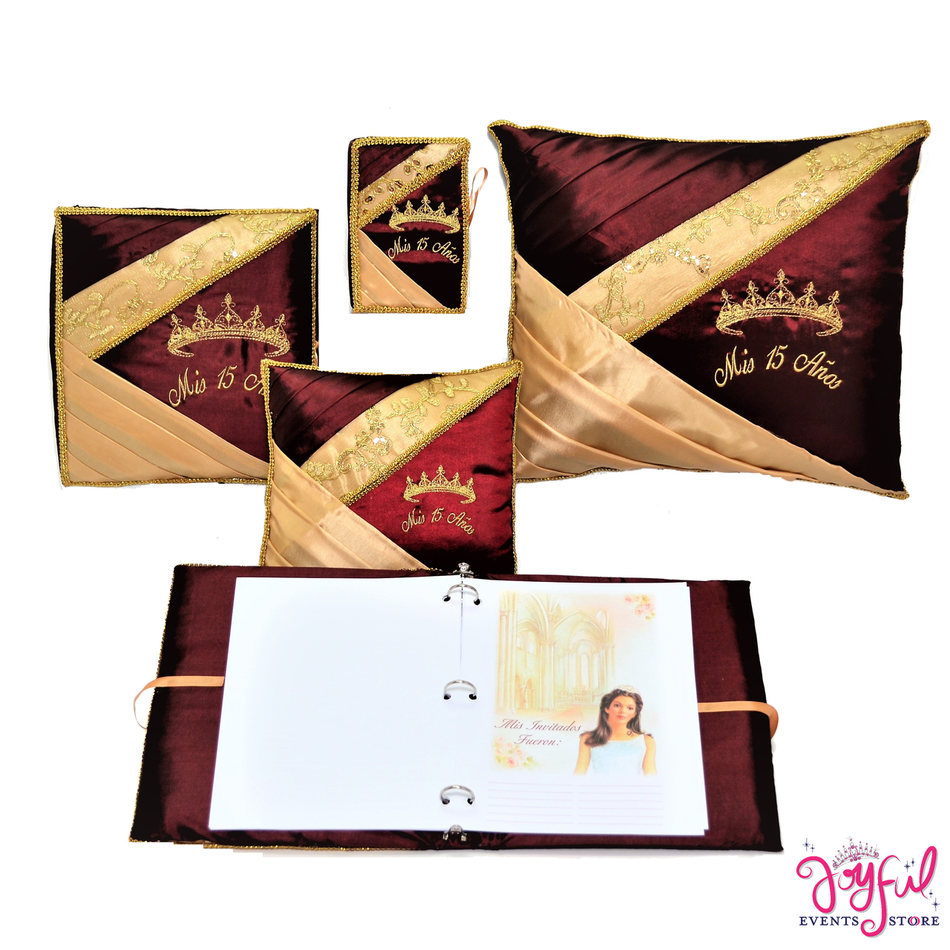 Quinceanera Princess Tiara Accessories Pillows, Photo Album, Guest Book and Bible #QSET107