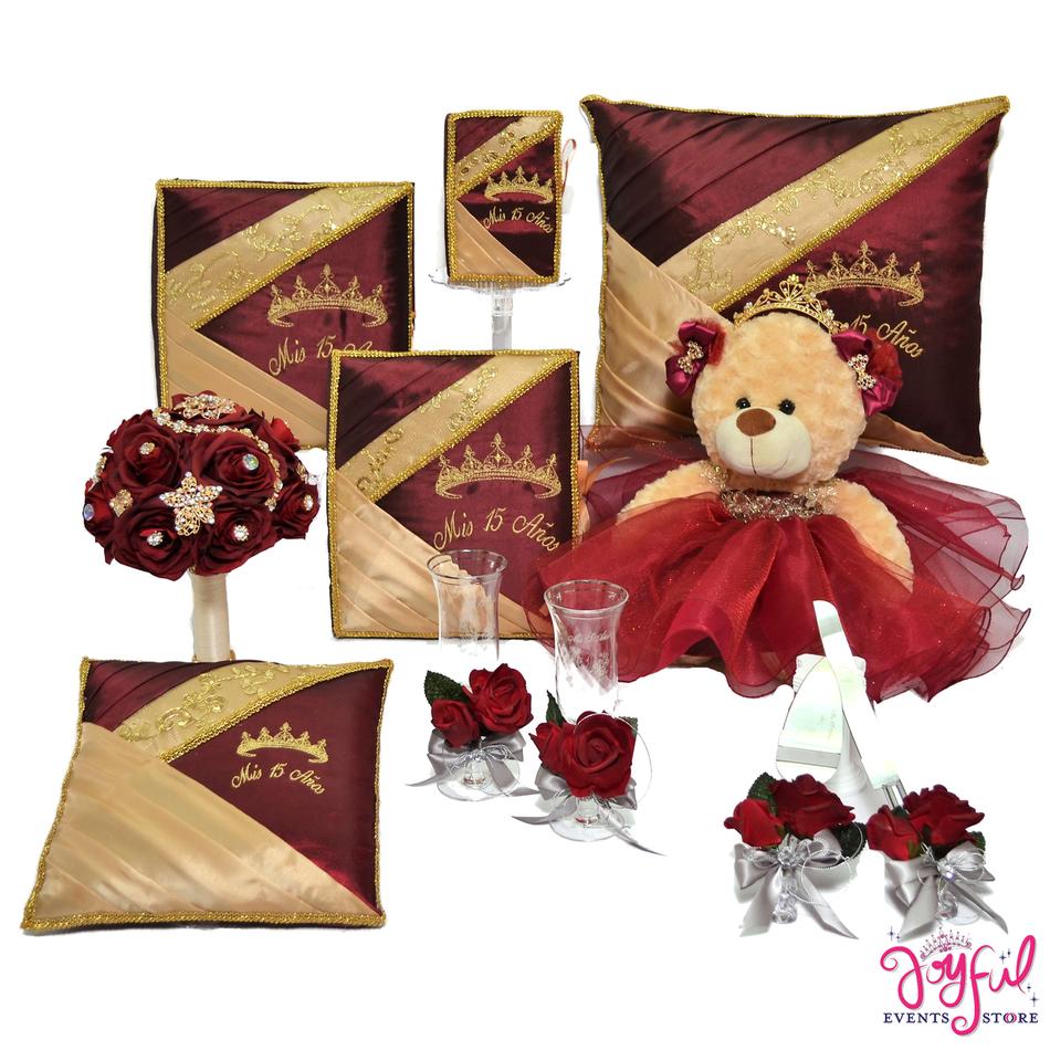 Quinceanera Princess Theme Package Bear, Pillows, Guest Book, Album, Bible, Flower Bouquet, and Cake Server #QSP107