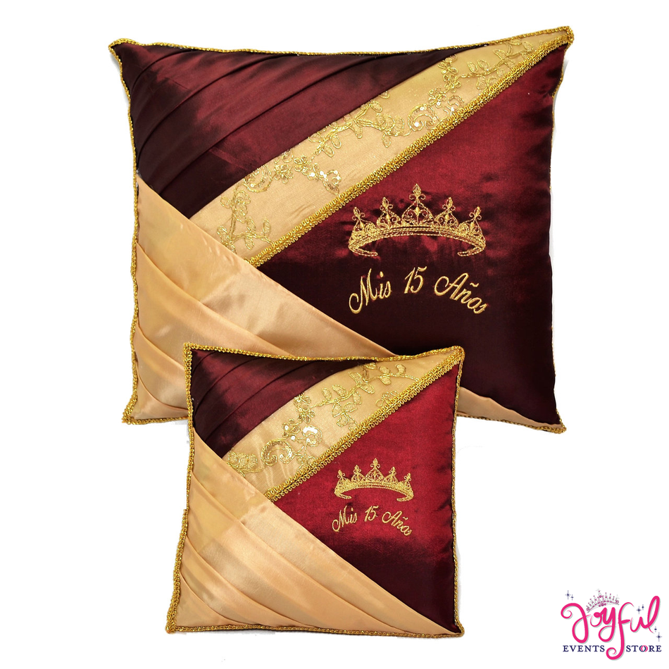 Quinceanera Princess Kneeling, Slipper and Tiara Pillows  - Two Pillows #PL107