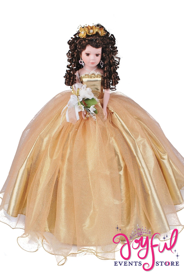 """18"""" Quinceanera Shiny Tulle Dress  Doll -  #QD2518"""
