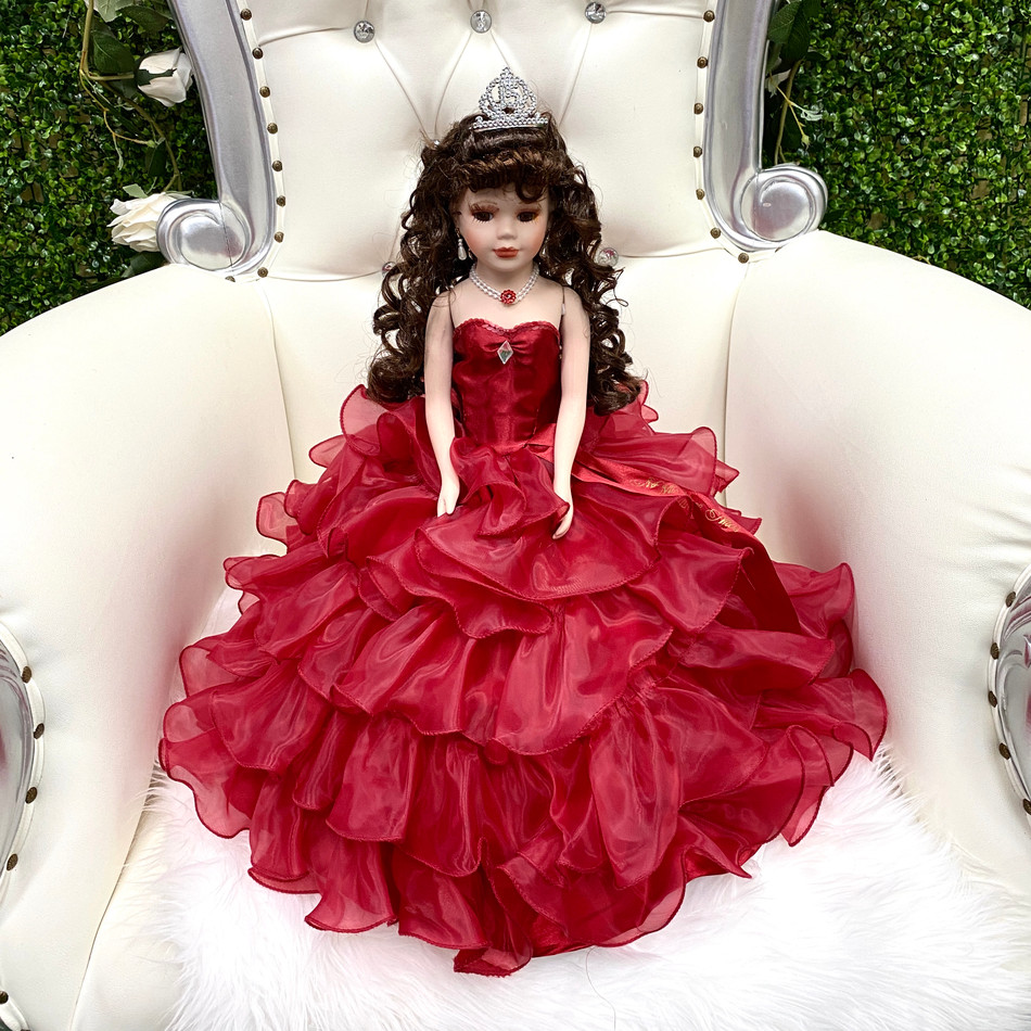 """18"""" wine color quinceanera doll"""