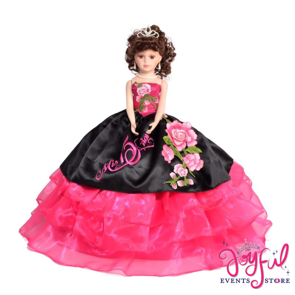 "18"" Quinceanera Charro Last Doll with Pink Roses Floral Dress #QD80JE"