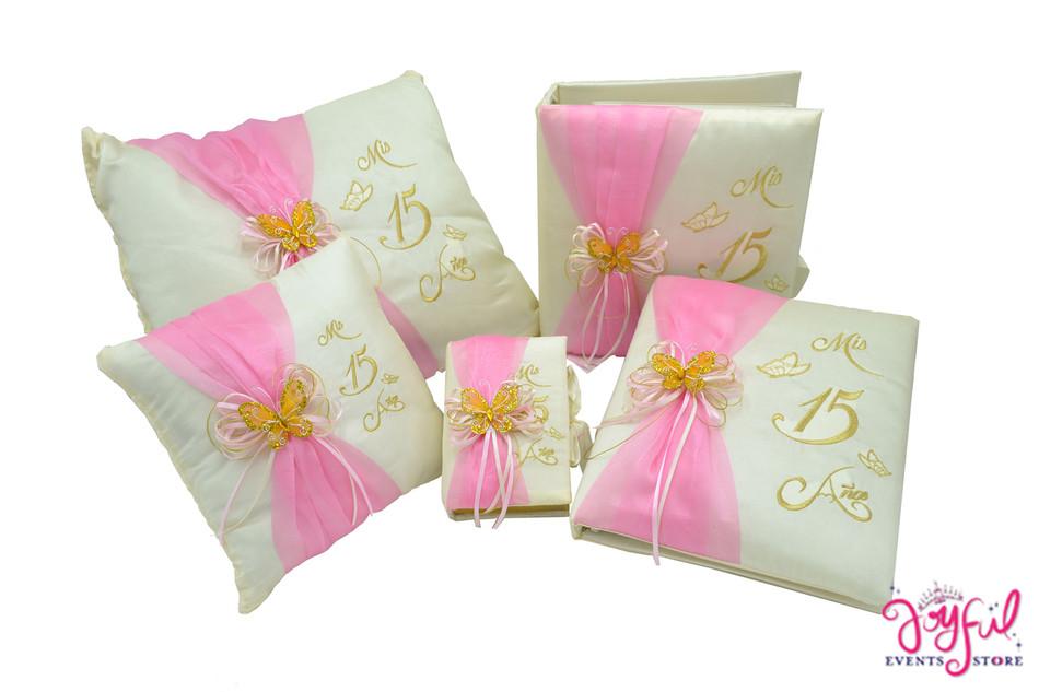 Princess Butterfly Quinceanera Accessories Pillows, Photo Album, Guest Book and Bible #QSET1PK