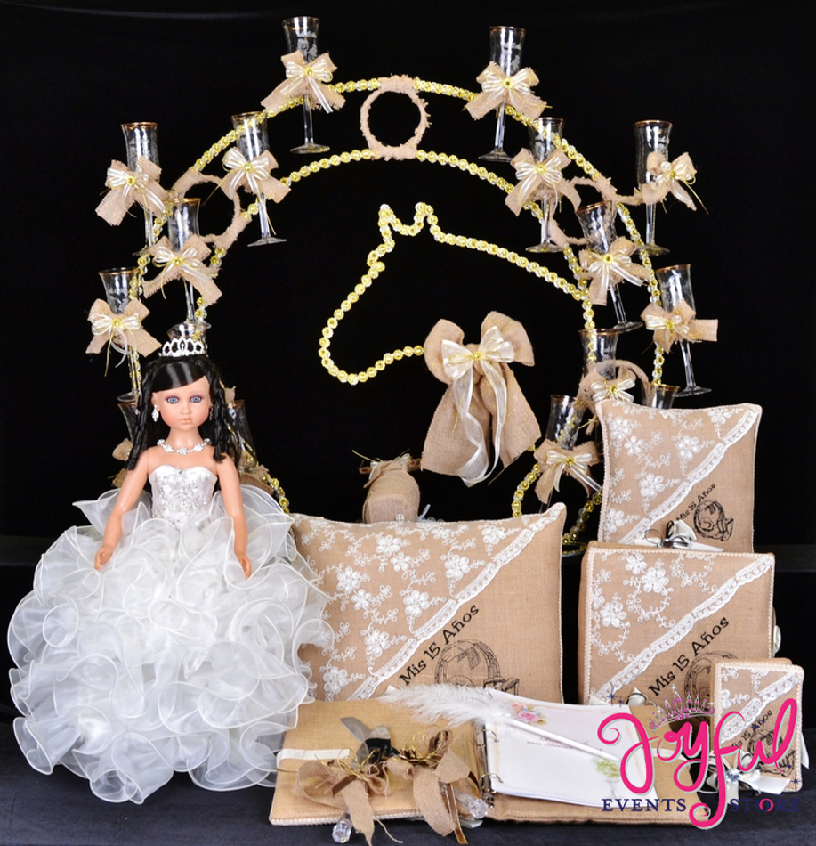 Horse Shoe Quinceanera Package Toasting Set, Doll, Pillows, Guest Book, Album, and Cake Server #QSP134