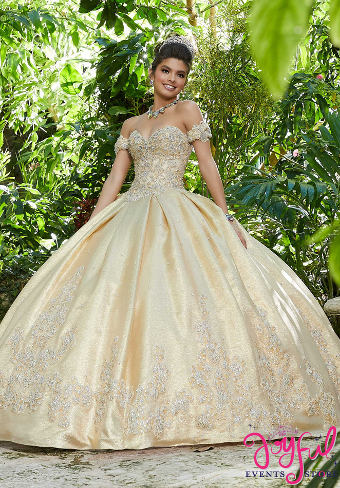 Rhinestone and Crystal Beaded Metallic Lace Appliqués on a Shimmer Taffeta Ballgown #89242