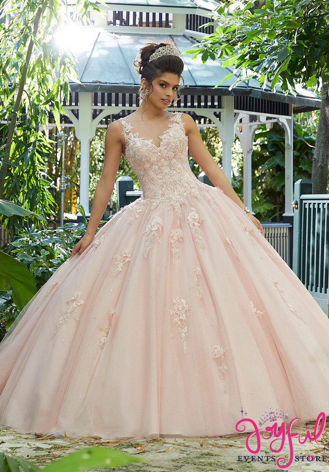 Crystal Beading on Three-Dimensional, Metallic Floral Embroidery on a Tulle Ballgown #89244