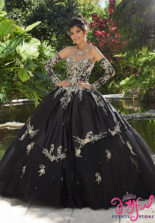 Rhinestone and Crystal Beading on Three-Dimensional, Metallic Embroidery on a Tulle Ballgown #89248